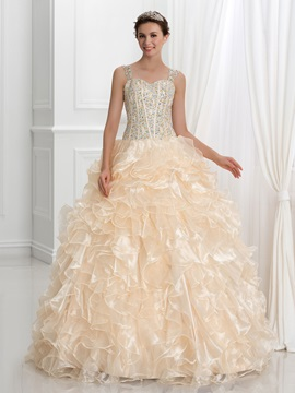 Straps Beading Crystal Ruffles Ball Gown Quinceanera Dress