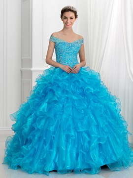 Off the Shoulder Crystal Ruffles Lace Ball Gown Quinceanera Dress