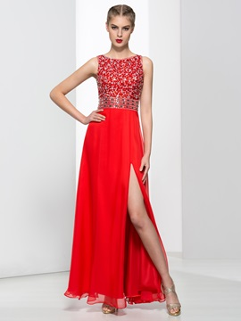 Modern Straps Sequins Beading Red Prom Dress