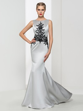 Graceful Straps Appliques Mermaid Evening Dress