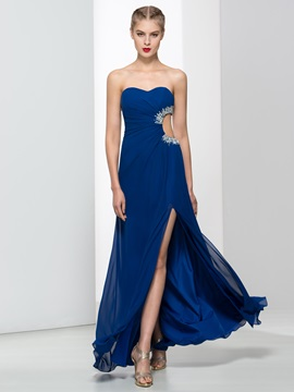 Sweetheart Beading Split-Front Hollow Long Evening Dress