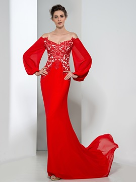 Elegant V-Neck Long Sleeves Appliques Red Evening Dress