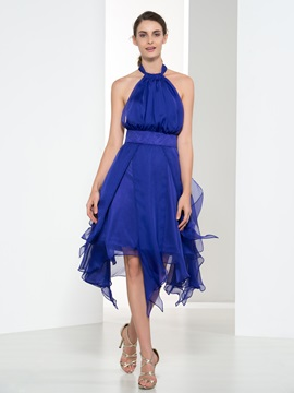 Casual Halter Ruffles A-Line Asymmetry Cocktail Dress