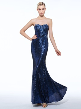 Glamorous Sweetheart Appliques Sheath Sequins Evening Dress