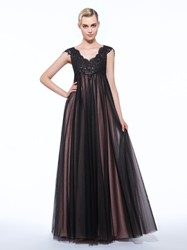 V-Neck Cap Sleeves Appliques Sequins Evening Dress