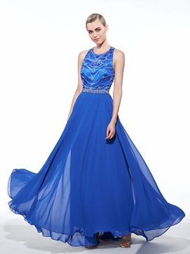 Criss-Cross Straps Beading A-Line Long Evening Dress