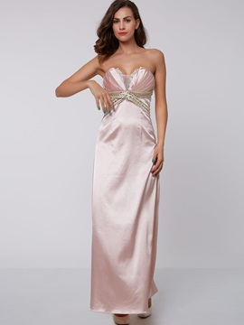 Graceful Strapless Beading Column Evening Dress