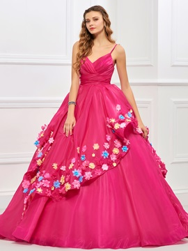 Sweet Ball Gown Spaghetti Straps Pleats Flowers Quinceanera Dress