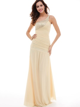 Pleats Ruched Beading One-Shoulder Evening Dress