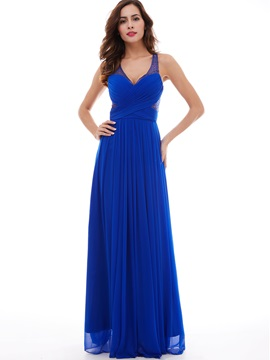 Fancy Criss-Cross A-Line V-Neck Floor-Length Evening Dress