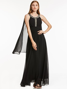 Fancy Beading Scoop Neck A-Line Long Evening Dress