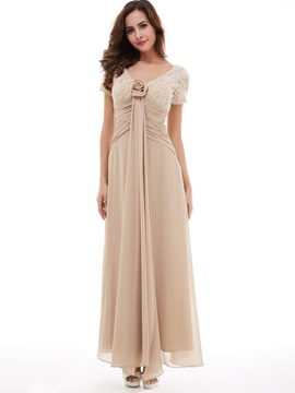 Pretty A-Line V-Neck Short Sleeves Sequins Lace Chiffon Evening Dress