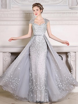 Luxurious Cap Sleeve Appliques Pearls Evening Dress