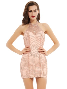 Sexy Halter Neck Sheath Backless Sequins Short Cocktail Dress