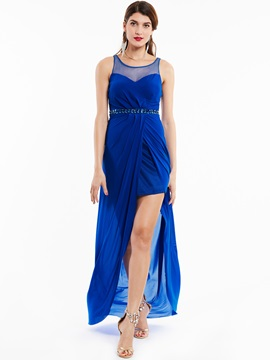 Fancy Scoop Neck Sheath Beaded Long Chiffon Evening Dress