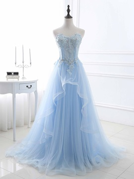 Charming A-Line Sweetheart Beading Sequins Long Prom Dress