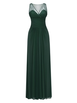 V Neck Beaded Pleats Long Evening Dress