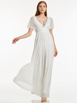 Unique V Neck Beaded A Line Long Evening Dress