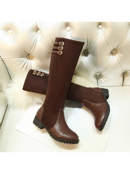 Suede Patchwork Zippered Riding Boots