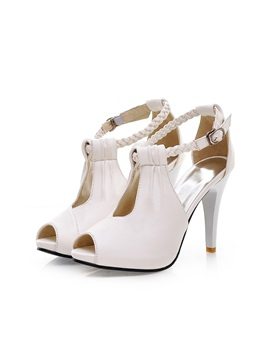 Peep-toe Ankle Strap Stiletto Heel Sandals