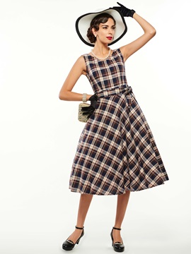 Chic Plaid Round Neck Sleeveless Skater Dress