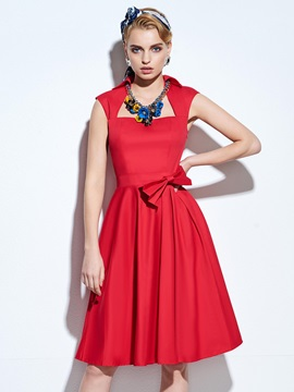 Polyester Bowknot Tie Women Knee-Length Dress