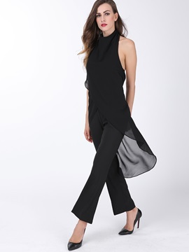 Black Chiffon Backless Jumpsuit