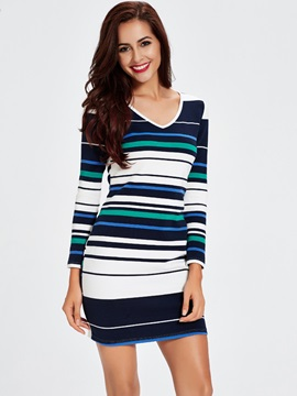 Striped Short Women Bodycon Dress