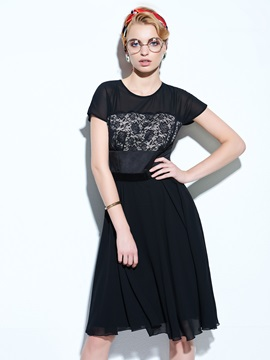 Vintage Short Sleeve  Hollow Day Dress