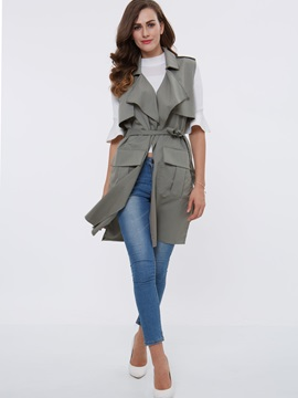 Stylish Lace Up Lapel Sleeveless Trench Coat