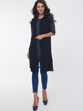 Simple Side Slit Mid-Length Vest