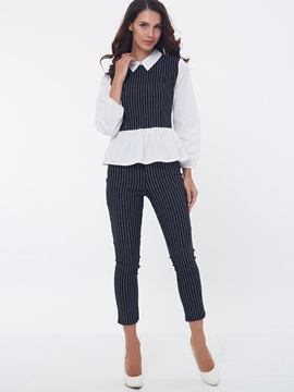 Striped Printed Lapel Shrit Pants 2-Piece Sets