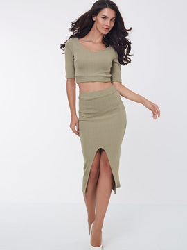 Solid Color Knitwear Placketing Crop Top Skirt 2-Piece Sets