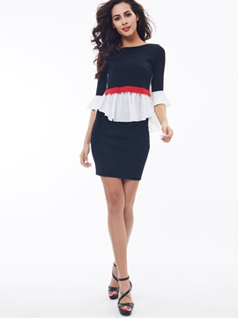 White Pleated Patchwork Skirt 2-Piece Sets