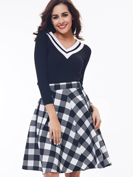 Solid Color Top Plaid Printed Skirt 2-Piece Sets