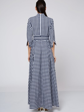 Plaid Stand Collar Button Lace-Up Maxi Dress