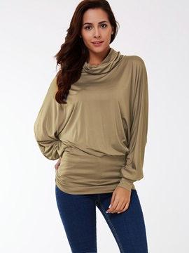 Top Leisure Turndown Collar Bat Sleeve T-shirt