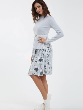 Stand Collar Knitwear And Flower Print Dress Suits