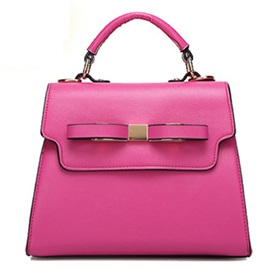 Candy Color Pu Bowknot Decorated Women's Satchel