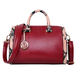 PU Zip Embossing Women Satchel