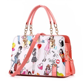 Sweet Color Chic Pattern Printed Women's Satchel
