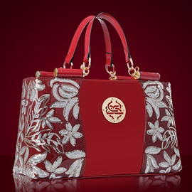 Euramerican Style Floral Decorated Women's Satchel