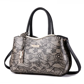 Vintage Art Flower Printing with Metal Pendant Women's Satchel