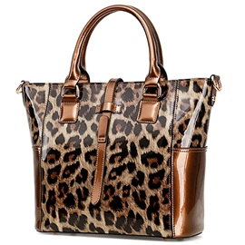 Trendy Leopard Patent Leather Women Satchel
