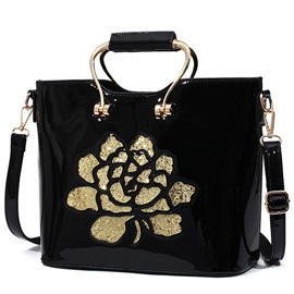 Trendy Sequins Rose Decorated Patent Leather Women Satchel
