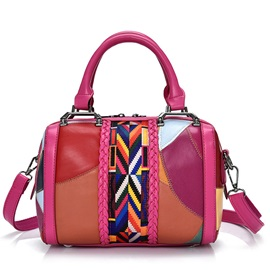 Leisure Simple Patchwork Lambskin Women Satchel