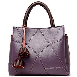 Europe Litchi Grain Patchwork Women Satchel