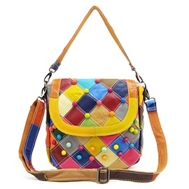 Color Block Rivets Patchwork Women Satchel