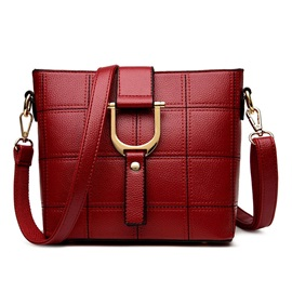 Korean Style Embroider Line Grid PU Women's Satchel