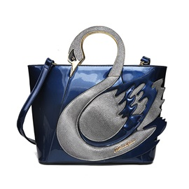 Elegant Swan Shape Bright Surface PU Satchel